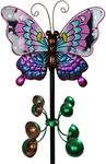 Metal Butterfly Wind Spinner - Purple