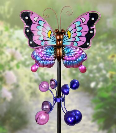 Metal Butterfly Wind Spinner - Purple - Click to enlarge