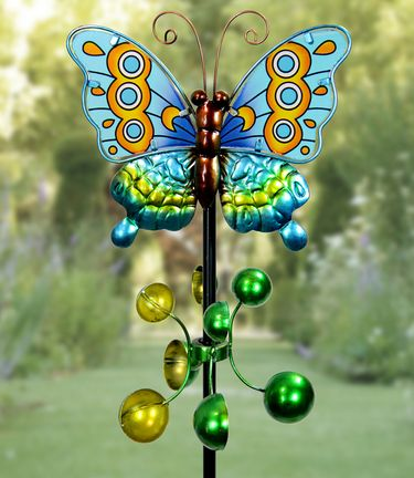 Metal Butterfly Wind Spinner - Teal - Click to enlarge