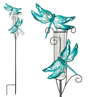 Metal Dragonfly Rain Gauge Stakes (Set of 2) - Click to enlarge
