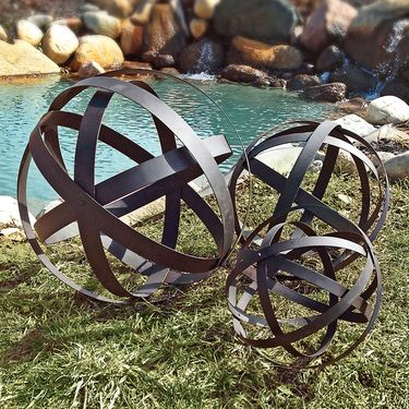 Metal Garden Spheres Orbs (Set of 3) - Click to enlarge