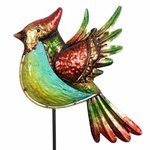 Metal & Glass Bird Garden Stake