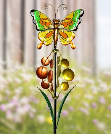 Metal & Glass Butterfly Bubble Wind Spinner - Click to enlarge