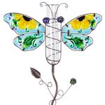Metal & Glass Dragonfly Rain Gauge Stake