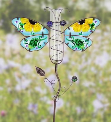 Metal & Glass Dragonfly Rain Gauge Stake - Click to enlarge