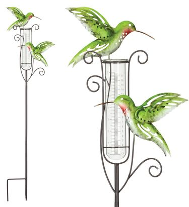 Metal Hummingbird Rain Gauge Stakes (Set of 2) - Click to enlarge