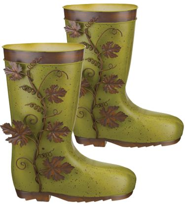 Metal Leaves Boot Planters (Set of 2) - Click to enlarge