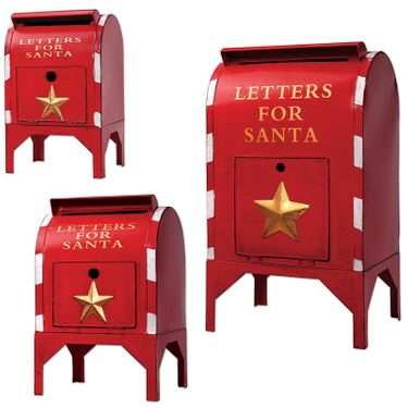 Red Santa Mailboxes (Set of 3) - Click to enlarge