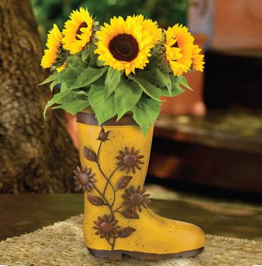 Metal Sunflower Boot Planters (Set of 2) - Click to enlarge
