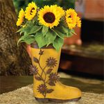 Metal Sunflower Boot Planters (Set of 2)