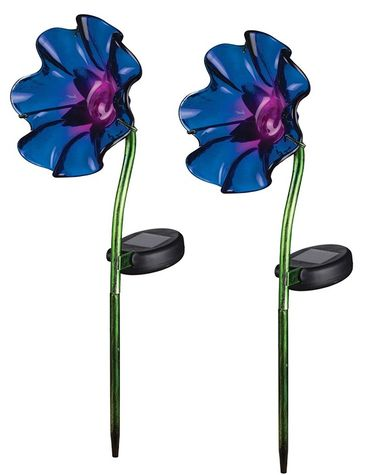 Mini Solar Poppy Stake - Purple (Set of 2) - Click to enlarge