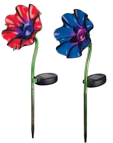 Set of 2 Mini Solar Poppy Stakes - 1 Purple 1 Red - Click to enlarge