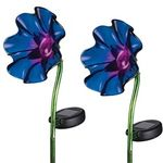 Mini Solar Poppy Stake - Purple (Set of 2)