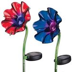 Set of 2 Mini Solar Poppy Stakes - 1 Purple 1 Red