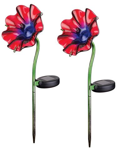 Mini Solar Poppy Stake - Red (Set of 2) - Click to enlarge