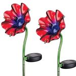 Mini Solar Poppy Stake - Red (Set of 2)