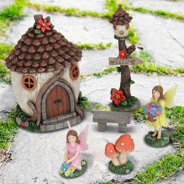Solar Miniature Fairy House Kit (6pc) - Click to enlarge