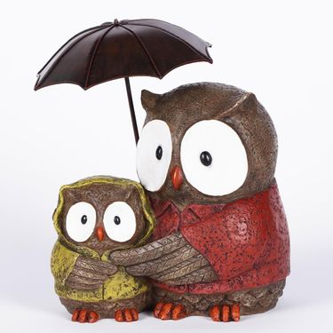 Mother Owl & Baby w/Umbrella - Click to enlarge
