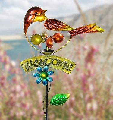 Orange Welcome Spinner Garden Stake - Click to enlarge