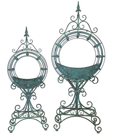 Ornate Circular Iron Planters (Set of 2) - Antique Green - Click to enlarge
