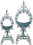 Ornate Circular Iron Planters (Set of 2) - Antique Green