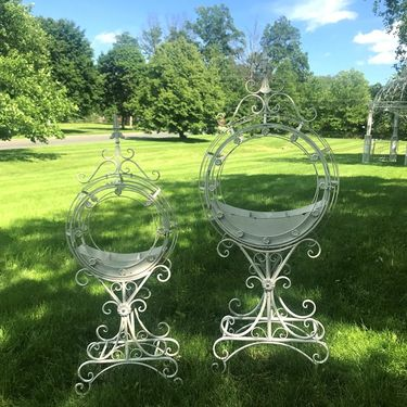Ornate Circular Iron Planters (Set of 2) - Antique White - Click to enlarge
