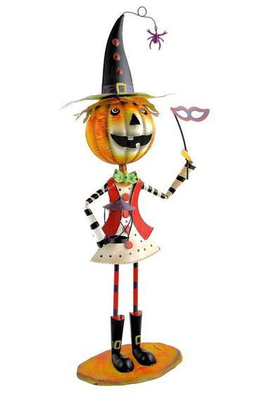 Party Witch Jack-O-Lantern Metal Statue - Click to enlarge