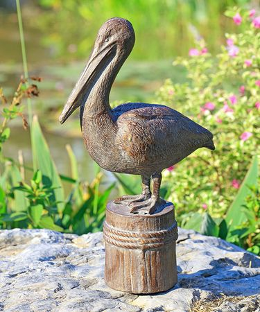 Pelican Cast Iron Garden Sculpture - Click to enlarge