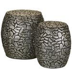 Pewter Pebbles Garden Stools & Planters (Set of 2)