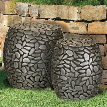 Pewter Pebbles Garden Stools & Planters (Set of 2) - Click to enlarge