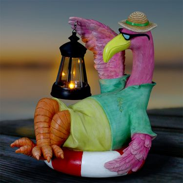 Pink Flamingo w/Solar Lantern - Click to enlarge