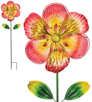 Pink Isabel Glass Flower Stake - Click to enlarge