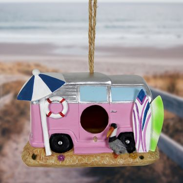 Pink Retro RV Bird House - Click to enlarge