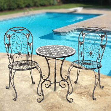 Platinum  Mosaic Bistro Patio Set - Click to enlarge