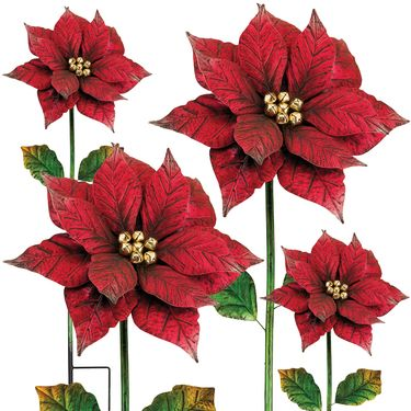 Poinsettia Flower Stakes (Set of 4) - Click to enlarge