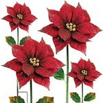 Poinsettia Flower Stakes (Set of 4)