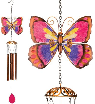 Purple Butterfly Wind Chimes (Set of 2) - Click to enlarge
