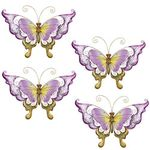 Purple Glass Butterfly Wall Decor (Set of 4)