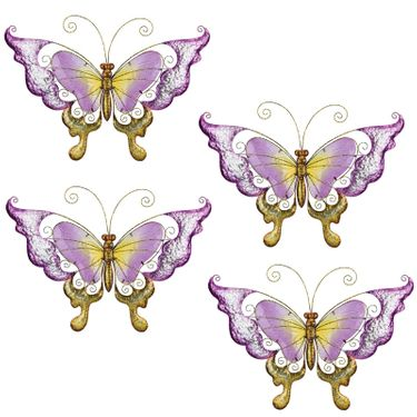 Purple Glass Butterfly Wall Decor (Set of 4) - Click to enlarge