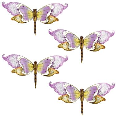 Purple Glass Dragonfly Wall Decor (Set of 4) - Click to enlarge