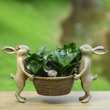 Rabbit Family Planter Holder - Click to enlarge