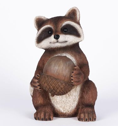 Raccoon Holding Acorn Statue - Click to enlarge