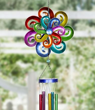 Rainbow Waves Double Spinner Wind Chime - Click to enlarge