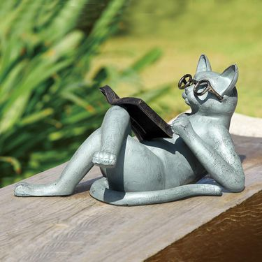 Reading Cat Garden Statue - Click to enlarge