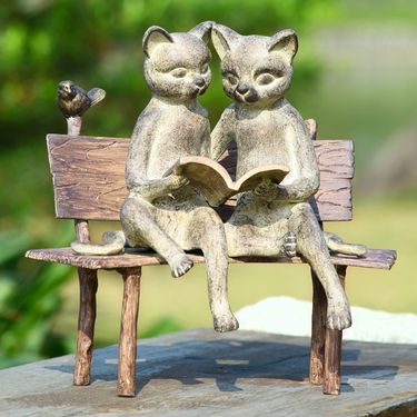 Reading Cats Garden Statue - Click to enlarge