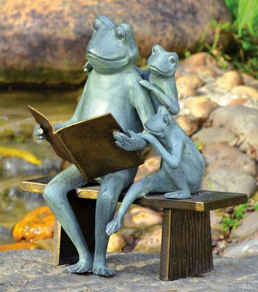 Reading Frog Family Garden Statue - Click to enlarge