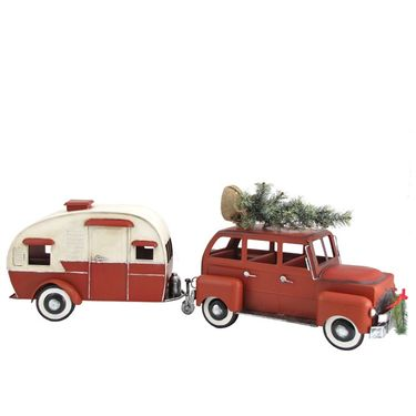 Red Christmas Car w/Trailer Camper - Click to enlarge