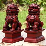 Red Foo Dog Male & Female Statues (Set of 2)