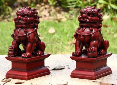 Red Foo Dog Male & Female Statues (Set of 2) - Click to enlarge