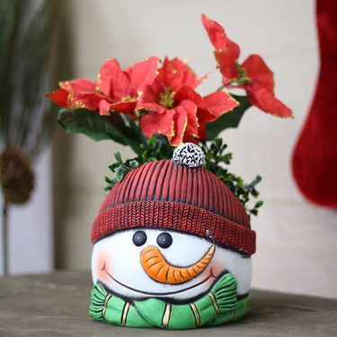 Red Hat Snowman Flower Pots (Set of 4) - Click to enlarge